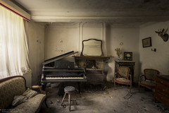 Music of the past (Dennis van Dijk) Tags: abandoned forgotten decay derelict europe eu ue urban exploration art lost found moody beauty precious stairs rust dust explorer music piano player man pianoman maestro grand