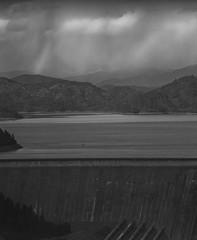 rain near the dam on 4x5 film (Garrett Meyers) Tags: autograflex4x5 rbgraflex4x5 graflex graflex4x5 4x5film film filmphotographer blackandwhitefilm homedeveloped largeformat rainclouds shastadam fallingrain rain reddingphotographer
