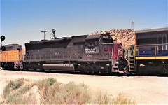 Southern Pacific SD45 locomotive at Cajon Summit in 1993 (Tangled Bank) Tags: train railwa railroad railways old classic heritage vintage north american fallen flag 1990s 90s rolling stock freight cars equipment southern pacific sd45 locomotive cajon summit 1993 sp