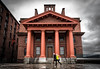 Dock Office for the Albert Dock, Liverpool, UK (KSAG Photography) Tags: architecture history heritage maritime city urban building liverpool merseyside england europe britain uk unitedkingdom wideangle nikon april 2018 red spring clouds people street