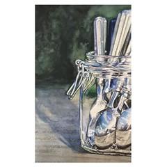 cubiertos (Susana Nahmias) Tags: watercolor acuarela painting art silverware cubiertos reflection realism