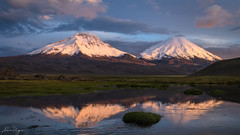Light them up!! (Andres Puiggros) Tags: arica caquena parinacota payachatas pomerape reflection reflejo sunset volcano volcan lauca