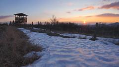 Mogyorósi Lookout Tower (Janos Puskas) Tags: rónafalu medves mogyorósi lookouttower mogyorósilookouttower plateau sunset snow clouds sky cold windy uwa tokina1116