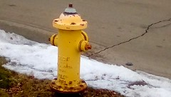 Corner fire hydrant! 365/145 (Maenette1) Tags: corner firehydrant yellow snow menominee uppermichigan flicker365 michiganfavorites project365