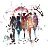 Before Spring (Nellytella) Tags: watercolor personnages people aquarelle parapluies umbrellas rainy ink encre