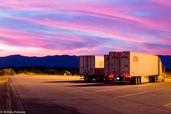 Desert Truck Stop At Sunset (RobinPsPhotos) Tags: arizona sedona desert highway moutains pictorial road sunset trailer truck