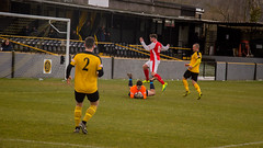Loughborough Dynamo (nonleaguepap) Tags: loughborough dynamo stocksbridge park steels yorkshire leicestershire snow white beast from east evo stik non league football red yellow black green grass pitch march 2018 clouds sky