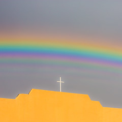 God and Rainbows (Thomas Hawk) Tags: america forthancock hudspethcounty socorro texas usa unitedstates unitedstatesofamerica church cross rainbow fav10 fav25 fav50