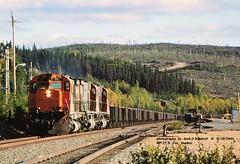 .(SEE & HEAR)--CARTIER 71-47-45, MP77.9, FOX, QUE. 9-18-2001 (jackdk) Tags: train railroad railway locomotive alco mlw mlw636 mlwm636 cartier cartiermining ore oretrain orejenny wilderness quebec northbound fox mp779 seeandhear seehear jackmp2945 qcm standardcab c636 alcoc636