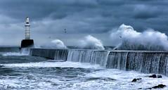 Storm (PeskyMesky) Tags: aberdeen aberdeenharbour southbreakwater storm water wave blue waves landscape scotland flickr canon canon6d lighthouse