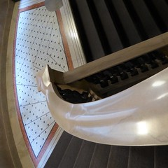 Chicago Cultural Center, Stairwell Geometry (Mary Warren 10.8+ Million Views) Tags: chicago chicagoculturalcenter architecture building stairs staircase geometry lines curves diagonals tiles railing