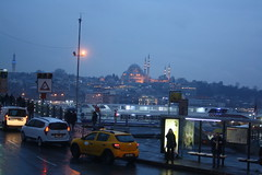 Evening in Istanbul (lazy south's travels) Tags: istanbul turkey turkish karakoy district beyoglu galata bridge dusk dark lights city urban river golden horn bus stop shelter