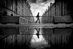 ..reflection.. (frank_hb) Tags: street streetphotography silhouette schwarz shadow human humaninarchitecture speicherstadt hamburg reflection bw black blackandwhite blackwhite