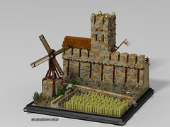 Where is water, there is life (_bidlopavidlo_) Tags: lego ldd digital designer povray wall castle fort fortress arabic medieval kingdom tower watermill waterpump crops field irrigation ditch tile