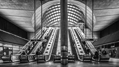 Canary Wharf Atrium (devil=inside) Tags: concrete escalator canary wharf london structure architecture building bw monochrome handphotography sony a77