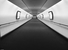 Tunnel Vision (Hammerhead27) Tags: bw blackandwhite mono iphone view infinity lgw connection airport tunnel hotel sofitel gatwick