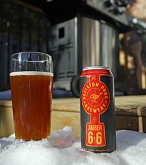 This weekend's featured pint. (Stickwork-Steve) Tags: beer beercan beerglass canadianbeer skeletonpark skeletonparkbrewery amberale sony sonya7ii sonyfe24240mm