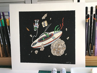 Delivery to the Asteroid Belt | Mixed-Media Art