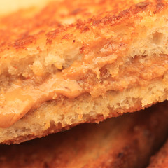 Grilled peanut butter and honey sandwich (iofdi) Tags: macromondays condiment peanutbutter honey butter bread