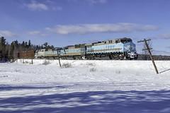 Job 2 at Parlin Stream (Thomas Coulombe) Tags: centralmainequebec cmq cmq1006 ac4400cw geac4400cw job2 freighttrain train codelines longpond maine parlinstream mooseheadsub snow
