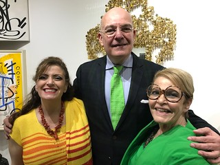 Sarah Steinbaum with art writer Justo Sanchez and Bernice Steinbaum at her home Gallery opening.