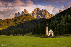 St. Johann in Ranui, Dolomites, Italy (AdelheidS Photography) Tags: adelheidsphotography adelheidsmitt adelheidspictures italy italia italië italien dolomites dolomiti ranui stjohann sunset valdifunes villnösstal odle odlemountains alps alpine church chapel forest sky dusk goldenhour