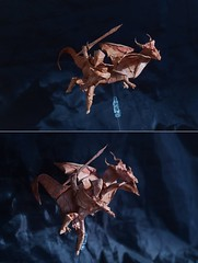 Dragon and Warrior by Xiodai (Nikita Vasiliev) Tags: origami origamiart paperart paper dragon warrior sword horns xiodai owerwatch wings claws