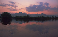 Bokor river cruise (ORIONSM) Tags: bkor river cruise cambodia kampot sunset pink sky mountains reflection clouds sony rx100mk3