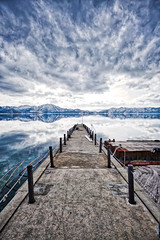 Deep Lake (Thomo13) Tags: ifttt 500px lake tazawa reflection hdr cloud snow mountain japan akita path water