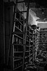 Old School Books (Mike Schaffner) Tags: abandoned bw blackwhite blackandwhite books decay decayed derelict deserted dilapidated highschool ladder monochrome old ruins school storage