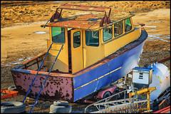 Port Burwell Junkyard Boat (Ontario, Canada) (Kᵉⁿ Lᵃⁿᵉ) Tags: can canada geo:lat=4264526662 geo:lon=8080732137 geotagged ontario oxfordnorwich 28300 28300mm abandoned abandonedboat art boat color colorful digitalart gaspump hdr highdynamicrange junkyard junkyardboat ladder marinevessel nikkor28300 nikon nikond800 oilpaint ontariocanada photoshop photoshopoilpaint portburwell portburwellontario rust rusty rustyboat rustyvehicle ship tires travelblog travelphotography vessel