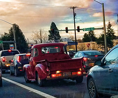 Twilight Commute (creepingvinesimages) Tags: htt pickup antique dodge red pacifichighway tigard oregon pse14 topaz
