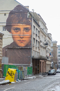 Building painting on a steet in Sofia, Bulgaria