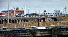 Where The Rubber Meets The Road (whosoever2) Tags: uk united kingdom gb great britain england nikon d7100 train railway railroad march 2018 west midlands washwoodheath dbcargo class66 66156 6g33 mountsorrel m6 motorway viaduct bridge