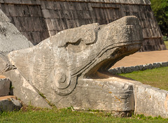The feathered serpent (Adaptabilly) Tags: stone shadow art mx chichenitza religion grass ruins travel mayan architecture decoration archaeology mexico yucatán patina sculpture stairs lumixgx7 kukulkan