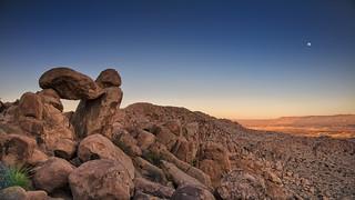 Moonrise over Balanced Rock and Dagger Mountain