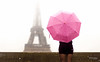 Street - Two ladies (François Escriva) Tags: paris france umbrella candid street streetphotography olympus omd pink colors quays seine brown black white sky light eiffel tower girl woman skirt dress photo rue