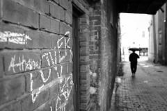 lovers lane (javan123) Tags: dof monochrome bokeh blur bricks gra graffiti fujifilm xt1
