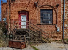 The Back Entrance (Kool Cats Photography over 9 Million Views) Tags: hdr architecture artistic alley structure stairs door brick red trash guthrie oklahoma