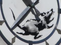 Banksy Clock Rat Running on Closed Bank Building 8354 (Brechtbug) Tags: clock rat running closed bank building banksy sidewalk wall painting the west side corner downtown 6th ave 14th street 03182018 graffiti arts midtown manhattan new york city 2018 nyc art artist artwork silhouette anonymous brit british english uk united kingdom residency mystery exit through gift shop 2014 sixth avenue fourteenth st