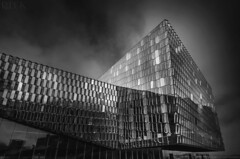 Harpa Building (Russell Eck) Tags: black white art harpa building architecture reykjavik iceland travel russell eck monochrome city blackandwhite glass