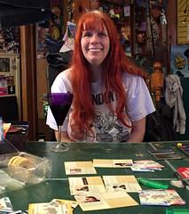 20170428 2039 - Pandemic Legacy date night #3 - Carolyn - (by Beth) - 06392087-2 (Clio CJS) Tags: 20170428 201704 2017 virginia alexandria clintandcarolynshouse upstairs gamenight gamenight20170428 game boardgame playingboardgame playingboardgames playingpandemiclegacy pandemiclegacy table pingpongtable sitting carolyn camerapersonbethh cameraphone smiling smile