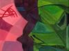 Bacio / Kiss - Artist: Leon 47 ( Leon XLVII ) (leon 47) Tags: kiss bacio leon 47 xlvii abstract painting metaphysical metafisica metaphysics enigma surrealism surrealismo triangulism art triangolismo arte astratta windows finestre minimalism minimalismo maschera mask