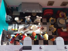 Easter is coming! (valeolligio) Tags: lego easter competition disaster 2018 egg coming downtown diner decorating bunny easterbunny colours blu red yellow people children family party prize gift elvis photographer photo look