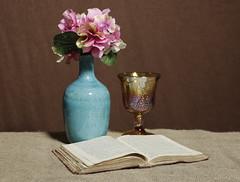 The Garden of Love (N.the.Kudzu) Tags: tabletop stilllife pottery vase book carnival glass goblet canondslr primelens manualfocus russianlens