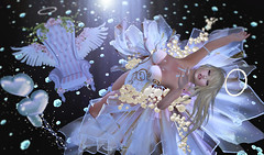 FRAGILE ANGEL (kyoka jun) Tags: fragile irrisistible mesh romantic bodice bangle floatingchair swank chocker shoes events headpiece garter bow applier hud women maitreye freya houglass isis venus physique sl secondlife angel pink