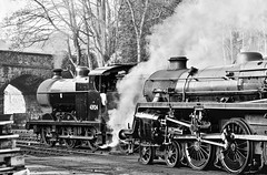 KWVR Haworth West Yorkshire 11th March 2018 (loose_grip_99) Tags: kwvr haworth westyorkshire yorkshire england uk railway railroad rail train steam engine locomotive shed mpd depot blackwhite noiretblanc britishrailways standard 4mt 460 75078 midland lms 4f 060 43924 transportation preservation gassteam uksteam trauns railways march 2018 nikon