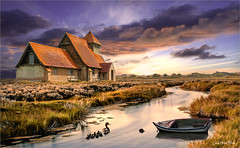 The little family (Jean-Michel Priaux) Tags: paysage landscape nature water hdr photoshop painting poetry boat farm cloud sun sunset lonely alone house river reflect