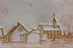 From Iceland. (Tóta. 27.12.1964.) Tags: houses church rain eyrabakki iceland ísland