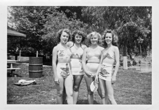 Teenage Girls in Bathing Suits Pose, 1940s